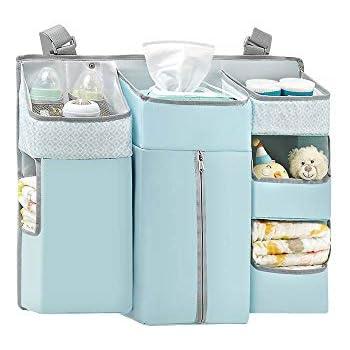 Blue SUNVENO Multi-Functional Nursery Crib Hanging Nappy Change Organizer Waterproof Pushchair Baby Stroller Hanging Storage Bag Baby Closet Organizer