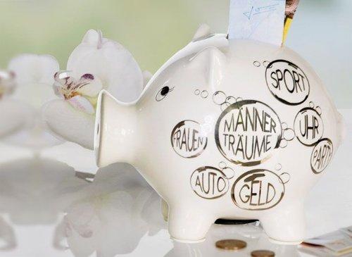 Großes Sparschwein -Männerträume- in weiß/silber