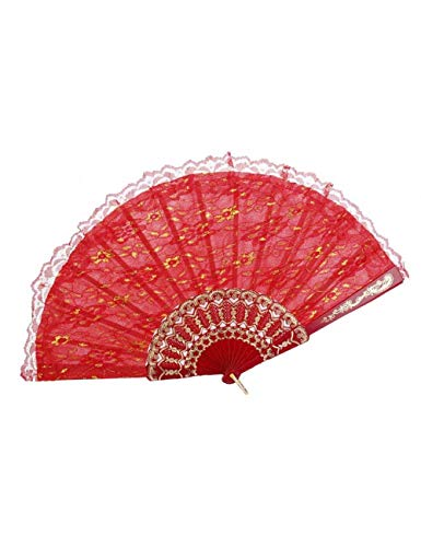 Weiße Kostüm Fan Spitze - ATLD Fächer Handfächer Handgemachte Spitze Fan Dance Hand Gefälligkeiten Hand Sonnenschirm Spitze Stoff Chinesischen Bambus Fan Folding Tanzen Fan