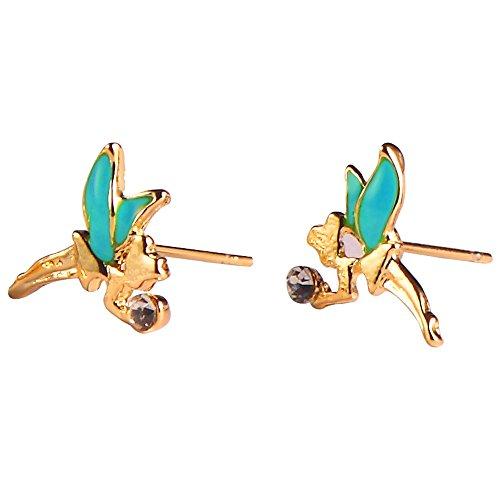 Ohrstecker Ohrring Tinkerbell (grün & gold) Made mit Emaille und Zinn Legierung von Joe Cool