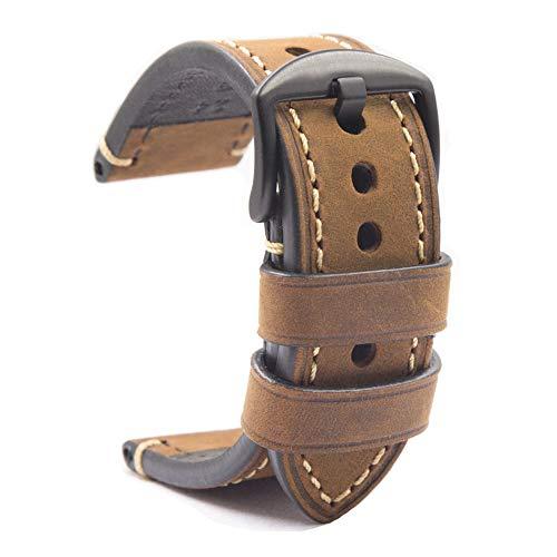 HVDHYY Uhrenarmband schwarzer Schnalle Leder Crazy Horse Herrenarmband Klassische Vintage Ersatz Panerai alle Arten Mode Sportuhr Zubehör Braun 26mm