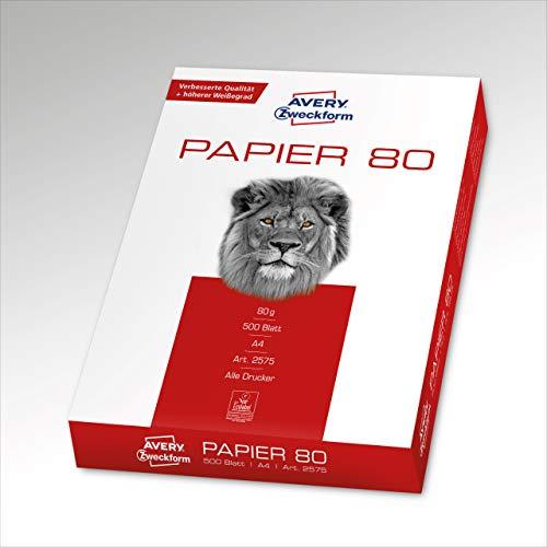 AVERY Zweckform 2575 Drucker-/Kopierpapier (DIN A4 Papier, 80 g/m², 500 Blatt, alle Drucker) weiß (Blatt-produkte)