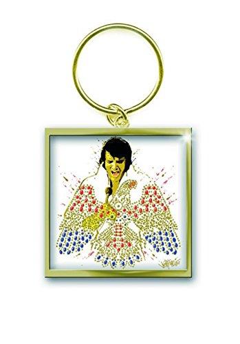 Elvis Presley Porte-Clés Keychain American Eagle Officiel Nouveau Or Size One Size