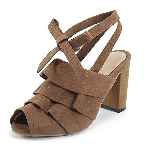 BURFLY Mid-Heel-Sandalen für Damen, Flache Schuhe, Freizeitschuhe für Damen und Kurze Riemen-Sandalen mit Zehen -