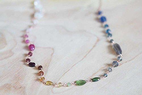 Sterling Silber Multi Edelstein Draht Halskette, Rainbow Ombre Edelsteine, oder Rose Gold gefüllt, Turmalin Labradorit Mondstein Kyanit 45,7cm (Rainbow Jewel Halskette)