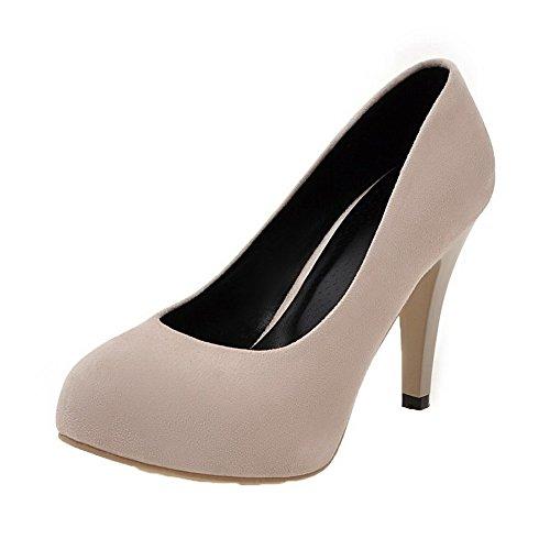 (AgooLar Damen High-Heels PU Rein Ziehen auf Rund Zehe Pumps Schuhe, Cremefarben, 40)