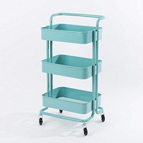 Rangement de stockage de 3 rangées de chariot de cuisine de stockage de stockage de boîte (Multicolore facultatif) (Couleur : Bleu, taille : Have handle)