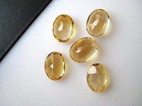 10pièces à facettes ovale Citrine pierres précieuses de courroie cabochons, calibré Citrine cabochons, 6x 8mm chaque,