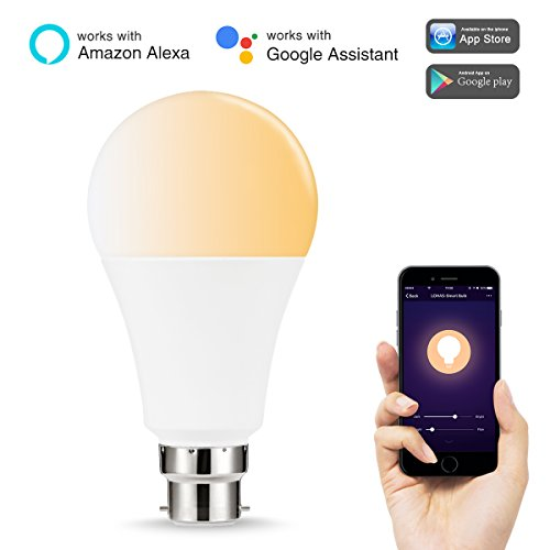 LOHAS WIFI A65 B22 Smart Light Bulbs, Works with Alexa and Google Home, 14W Equal to 100W LED Bulb, Tunable White(2000K-6500K), Controlled By Smart Devices, No Hue Required, 1 Pack