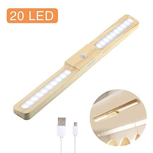 Luce per Armadio, HOSDEY Luce LED Sensore di Movimento Ricaricabile con Striscia Magnetica per Armadio Scale Corridoio Cucina