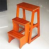 LJDGXTDZ Multifunktionsleiter Stühle Nordic Creative vierlagig faltbar mehrlagig Massivholzstuhl Leitern Treppenhocker Tritthocker Bibliothekshocker-Light_Walnut
