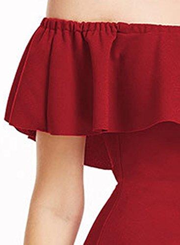 ACHICGIRL Women's off Shoulder Ruffle Floral Embroidery Bodycon Dress Burgundy