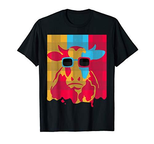 Lustiges Landwirt T-Shirt | Kuh mit Sonnenbrille Retro T-Shirt