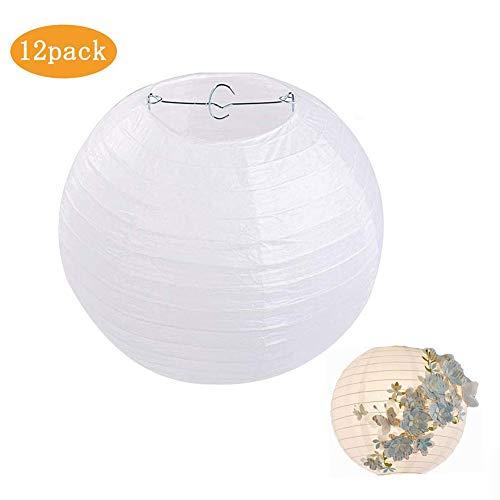 Papier Laterne, Queta 12 Stücke Papier Lampions Große Lampenschirm für Hochzeit Party Wohnungsdeko 20/25/30cm, Weiß