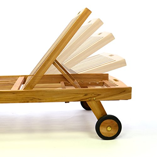 Divero Set Sonnenliege Gartenliege Teak-Holz