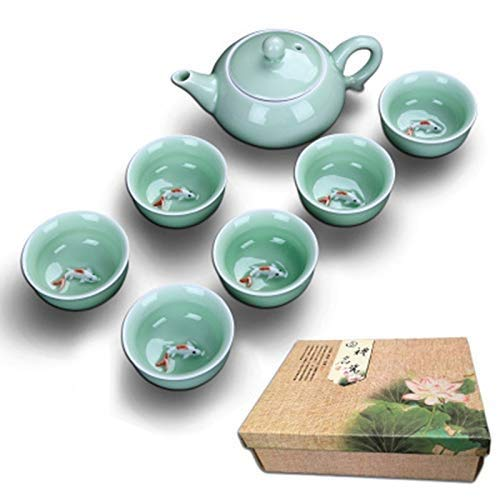 DWLXSH Keramikbehälter, chinesisches Tee-Set von core Life, handgefertigtes Keramik-Tee-Set aus Kung-Fu-Porzellan (6 Tassen mit Teekanne) - Tasse Tee im Koi-Fisch-Design Fisch Tee