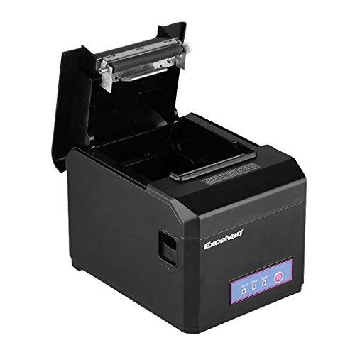 Excelvan E801 - Impresora térmica de recibos y tickets (Auto-Cut, interfaz USB, 80mm, 300mm/sec, compatible con Andriod, iOS, Windows y Linux), Negro