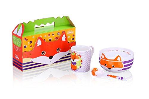 Kindergeschirr - Set aus Porzellan mit Fuchs Motiv-Foxie Frederick - 4 Elementen. Jedes Kind wird es lieben. Mit Geschenk Verpackung!