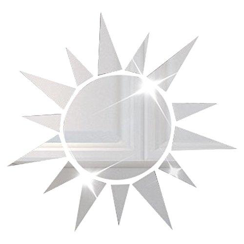 3D de alta calidad de acrílico etiqueta de la pared de espejo en forma de sol para sala de estar decoración del hogar de la plata