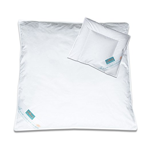 Zollner Bettdecken Set Kinderkopfkissen Kinderdecke 35x40 cm + 80x80 cm (weitere verfügbar), 90% Daunen 10% Federn - Feder-bettdecke Set
