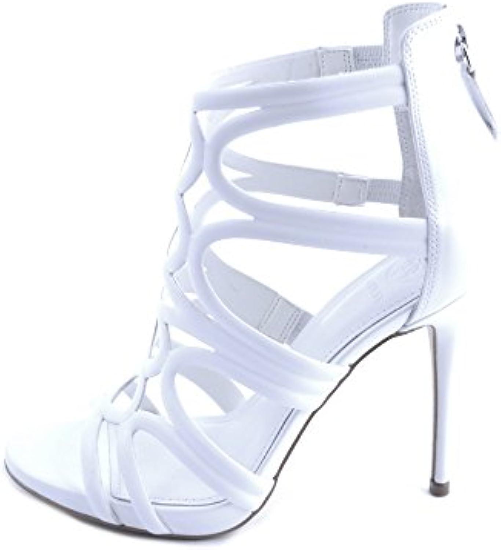 Guess Damen Sandalen aus Weißem Leder mit verflochtenen Bändern und Reißverschluss an der Ferse. 11cm Schmalerö
