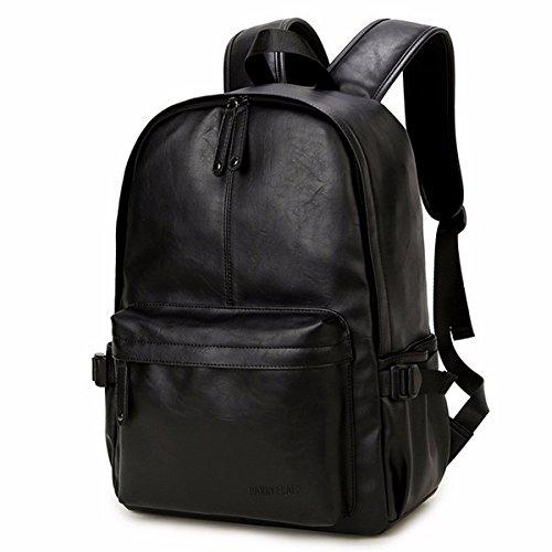 OURBAG Unisex Rucksack PU Leder Büchertasche Schultertasche für Reise Einkaufen Wandern Schwarz Mitte