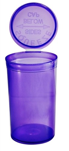 Pop Tops Quetschampulle 50 x 19Dram / 80ml, RX (Verschreibung),lila, durchsichtig, kindersicher,  FDA-zugelassener Kunststoff in medizinischer Qualität (PP-TR-VI-50), 50Stück