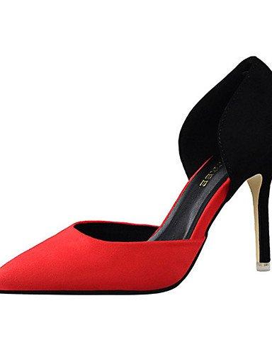 WSS 2016 Chaussures Femme-Décontracté-Noir / Rose / Rouge / Gris / Fuchsia-Talon Aiguille-Talons-Talons-Laine synthétique red-us5.5 / eu36 / uk3.5 / cn35