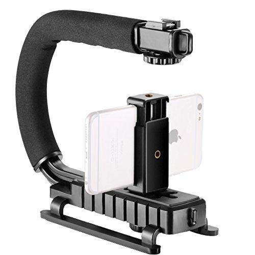 Neewer U/C-Form Handheld Stabilizer Griff mit Smartphone Halter und Zubehörschuh für Smartphone, Canon Nikon Sony DSLR Kamera, Camcorder, LED-Videoleuchte