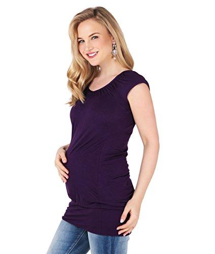 KRISP 7604-PUR-14, Femme Maternité Top T-Shirt Basique Uni Classique Casual, Violet (7604), 42