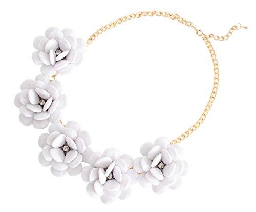 (XXL Sommer Statement-Halskette Collier Blumen in der Farbe weiss Modeschmuck Schmuck Statementkette)