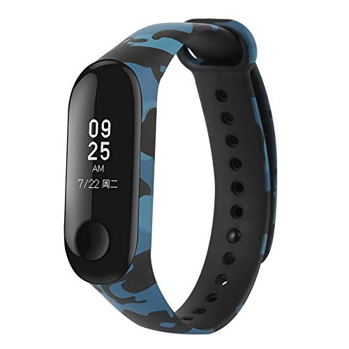 MStick Blue Camouflage Replacement Silicone Camouflage Army Style Band Strap for Xiaomi Mi Band 3