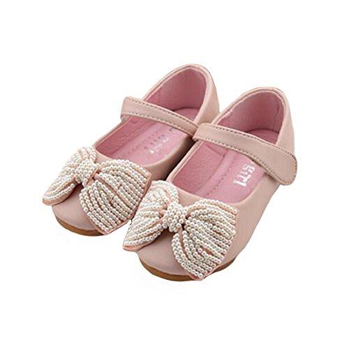 Meijunter New Kids Toddler Girls Enfants Doux Chaussures Perles bowknot Princesse Party Chaussures pink