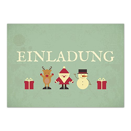 n mit Umschlag zur Weihnachtsfeier/Motiv: Vintage Grün Look/Weihnachten/Christmas Party/Einladung/für Firmen ()