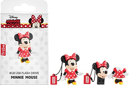 Image of Tribe Disney Minnie Mouse USB Stick 8GB Pen Drive USB Memory Stick Flash Drive, Gift Idea 3D Figure, PVC USB Gadget with Keyholder Key Ring – Multicolor