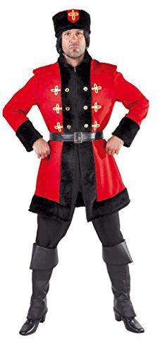 Russische Trachten - M215211-L rot-schwarz Herren Kosakenkostüm Kosakenuniform