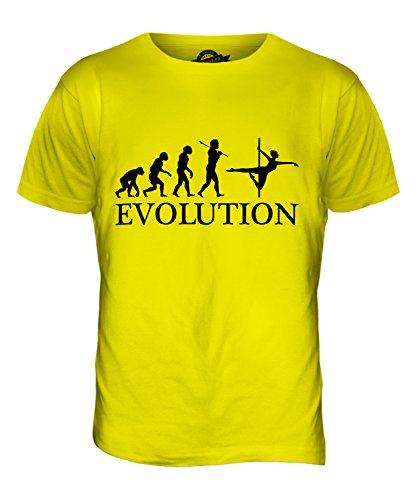 CandyMix Pole Dance Evoluzione Umana T-Shirt da Uomo Maglietta Giallo Limone