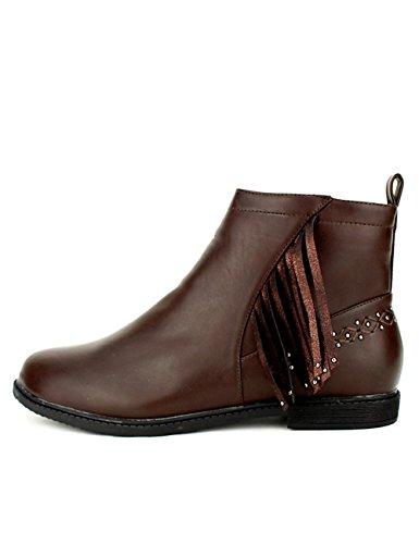 Cendriyon Bottine Marron Simili Metl Shoes Chaussures Femme Marron