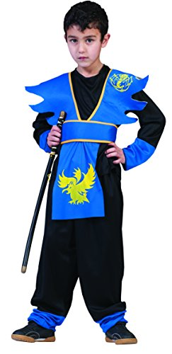 Ninja Kostüm für Jungen 128 blau - (Blau Kostüm Ninjago)