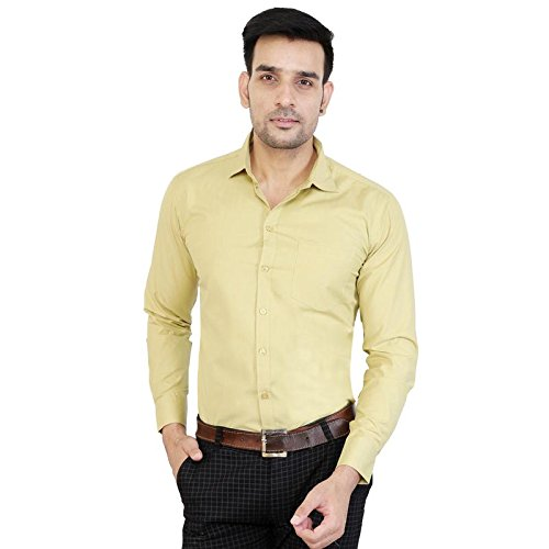 Cottonwalas Men's Cotton Casual Full Sleeves Shirt; (MPECW_003-S, Cream, Small)