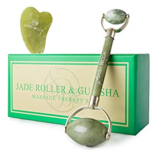 Jade Face Roller Massager for Face: Anti-Aging Facial Massage Jade Roller Tool & Gua Sha Set for All Skin Types.
