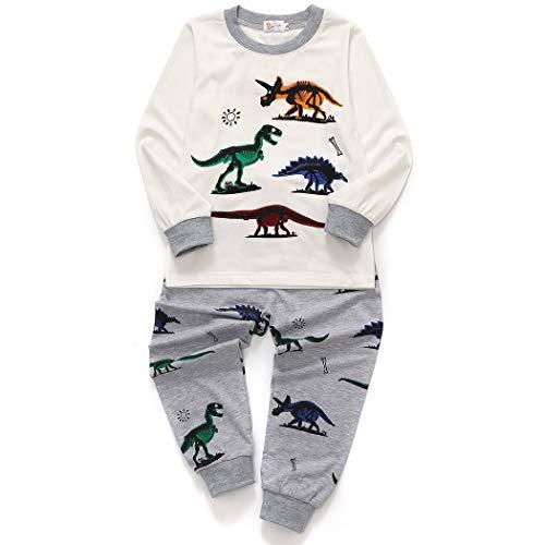Little Hand Jungen Zweiteiliger Schlafanzug Baumwolle Lange Nachtwäsche Kinder Pyjama- Gr. 104(Herstellergröße 110), Weiß