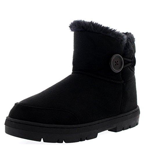 Damen Button Mini Pelz Gefüttert Warm Schuhe Winter Wohnung Schnee Regen Stiefel - Schwarz - BLA37 AEA0295 (Schnee Für Stiefel Fell Mit Frauen)