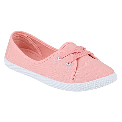 stiefelparadies Klassische Damen Ballerinas Sportliche Stoff Slipper Flats Sneakers Slip-ons viele Farben Schuhe 144347 Hellrot 38 Flandell