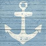 20 Servietten mit Anker in weiss / blau 33x33 cm Maritim