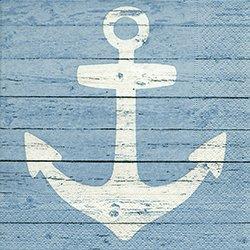 20 serviettes avec ancre en blanc/bleu 33 x 33 cm Maritim