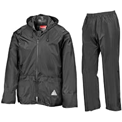 Result - Traje Impermeable /Conjunto Impermeable / chubasquero 2 piezas (conjunto chaqueta y pantalón) Grueso (Extra Grande (XL)/Negro)