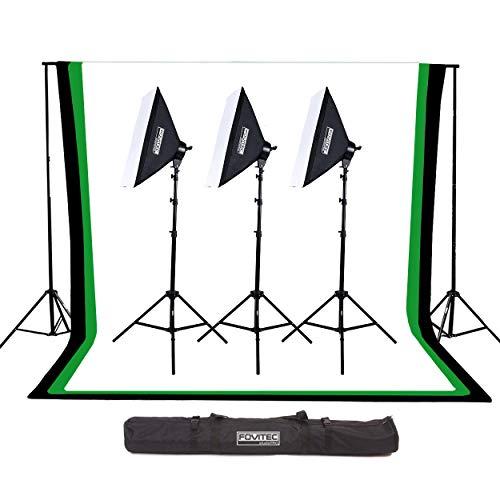 uerleistung Softbox Beleuchtung-Set mit 10ft x 12ft Schwarz, Grün Chroma-Key, und Weiß Musselin-Kulissen & Support System-Fotografie, Foto & Video Studio Essentials (Set von 3) ()