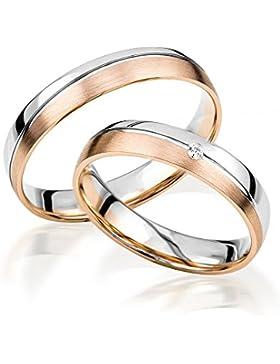 2x 585 Gold Eheringe Partnerringe Trauringe Verlobungsringe in Weißgold und Rotgold *mit Gravur und Stein*