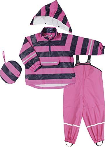 Lila Rosa Streifen (Playshoes Mädchen Regenazug, Matschanzug, Regen-Set Streifen Regenjacke, Rosa (Pink/Lila 786), Herstellergröße: 92)